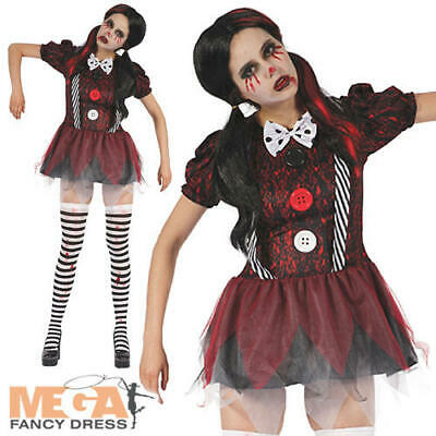Creepy Doll Ladies Fancy Dress Dead Dolly Adults Halloween Horror Costume Outfit • 16.49£
