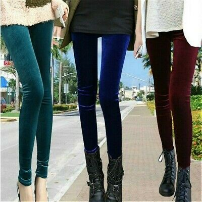 AU17.69 • Buy Women High Waist Shiny Velvet Velour Leggings Plush Soft Pants Trousers Solid
