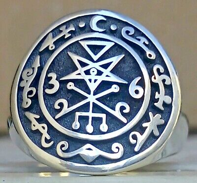 $ CDN111.32 • Buy Sterling Silver 925 Seal Of Lilith, Lucifer, Kabbalah Occult Amulet, Ritual Ring