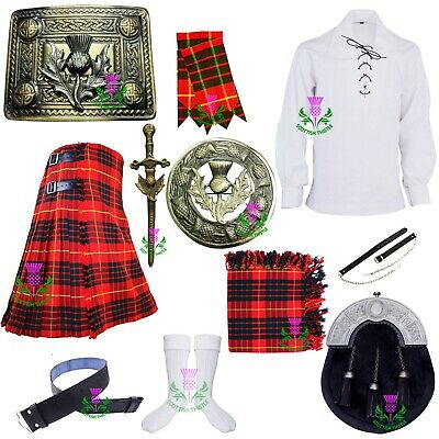 Scottish Kilt Outfit Set Cameron Red Tartan Wool Various Pin Brooch Accessories • 124.99£