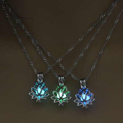 $ CDN1.99 • Buy Luminous Glow In The Dark Lotus Flower Shaped Pendant Necklace Women Charm Gifts