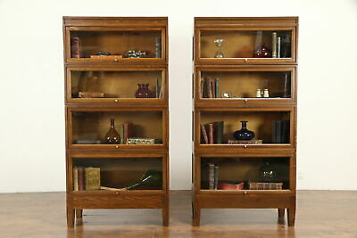 $3250 • Buy Pair Of Arts & Crafts Mission Oak Stacking Craftsman Lawyer Bookcases #32140