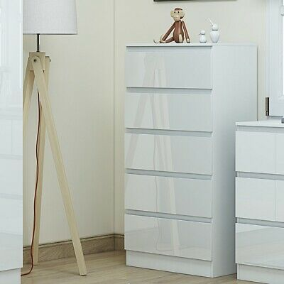 £110 • Buy White Gloss Chest Of 5 Drawers Modern Style 121.5cm Tall.White Bedroom Furniture