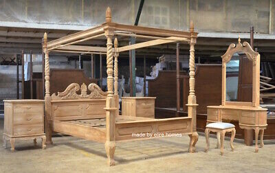 TEAK Wood French Queen Anne Style Four Poster Bed Set Himmelbett Bedroom Set • 2,999£
