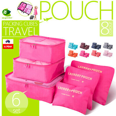 AU10.99 • Buy 6Pcs Packing Cubes Travel Pouches Luggage Organiser Clothes Suitcase Storage Bag