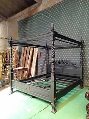 $ CDN2399.97 • Buy NEW UK King GOTHIC BLACK Queen Anne French  Style Four Poster Mahogany Bedframe
