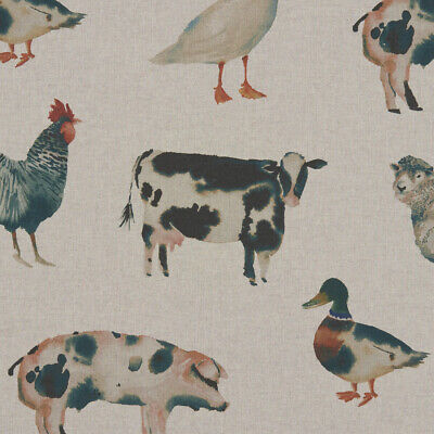 Clarke And Clarke On The Farm Linen Cotton PVC WIPE CLEAN Tablecloth Oilcloth • 7.99£