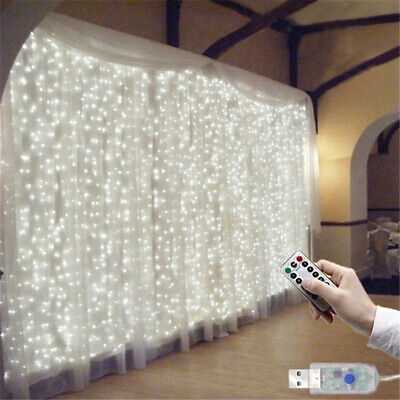 300 LED Fairy String Curtain Window Lights Twinkle Christmas Party Wedding Decor • 8.29£