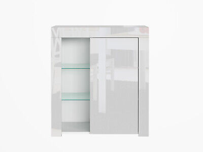 Compact White High Gloss Bookcase Display Unit Door Glass Cabinet Shelving Lily • 124.95£