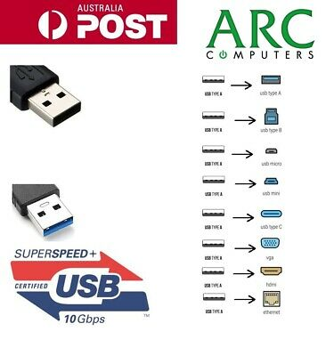AU6.99 • Buy USB 3.0 USB 2.0 To HDMI VGA Type-B Micro-B Phone Charge Extension Cable Adapter