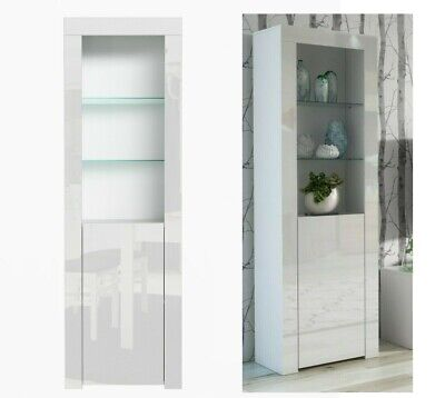 Tall White High Gloss Bookcase Display Unit Adjustable Glass Shelves 1 Door Lily • 169.95£