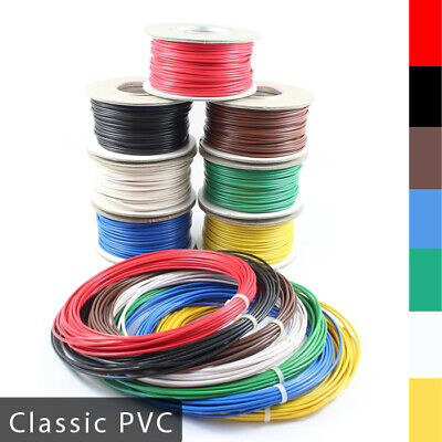 Automotive Classic PVC Thick Single Core Stranded Cable 12v 24v Wire 7 Colours • 5.75£
