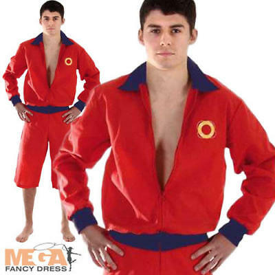 £16.99 • Buy 90s Red Lifeguard Jacket & Shorts Mens Fancy Dress Iconic 1990s Adults Costume