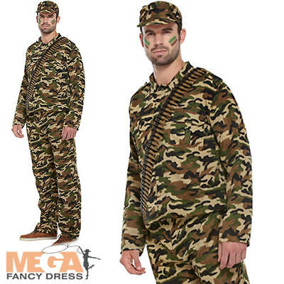 Army Man Mens Fancy Dress Military Soldier Camouflage Uniform Adults Costume  • 16.99£