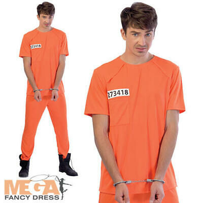 Prisoner Mens Fancy Dress Orange Prison Inmate Convit Uniform Adults Costume  • 15.49£