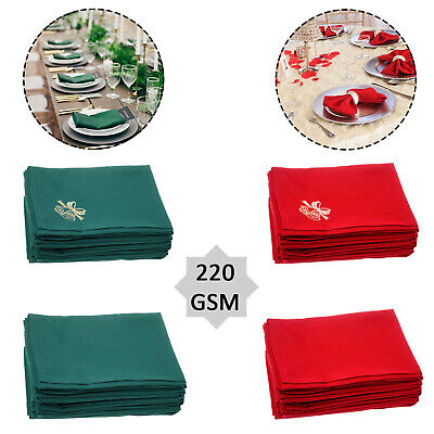 Spun Polyester Linen Square Table Napkins Christmas Xmas Dinner Party 20  X 20  • 7.65£
