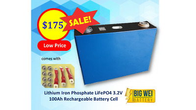 AU175 • Buy Lithium Iron Phosphate LiFePo4 3.2 V Cell 100Ah Rechargeable Battery