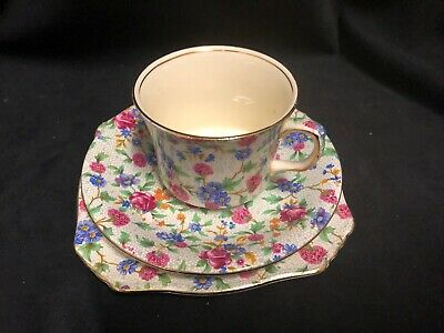 $ CDN75 • Buy Royal Winton   Old Cottage Chintz  Cup And Saucer Dessert Plate Trio