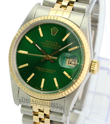 $ CDN7669.30 • Buy Rolex Mens Datejust 16233 2-tone Green Dial 18K Gold Fluted Bezel  36mm