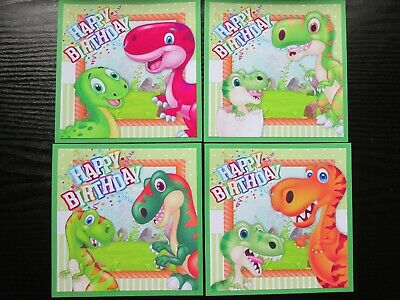 NEW----4 X Happy Birthday DINOSAURS Card Making  Toppers • 1.99£