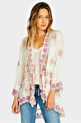 Johnny Was Lena Kimono Jacket Shell Embroidered Tie Front  L • 120$