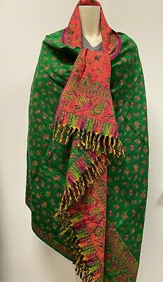 NEW Unisex Yak Wool Shawl GREEN PINK Colour WRAP, Hand Loomed Oversize Scarf • 28.99£