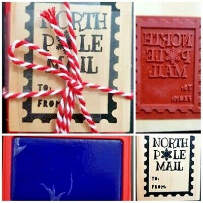 £6.75 • Buy Christmas Wooden Rubber Stamp Set With Ink Pad North Pole Craft Card Making Gift