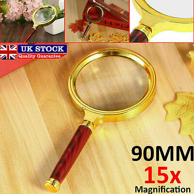 90mm Handheld 15X Magnifier Magnifying Glass Loupe Reading Jewelry Aid Big Large • 3.19£
