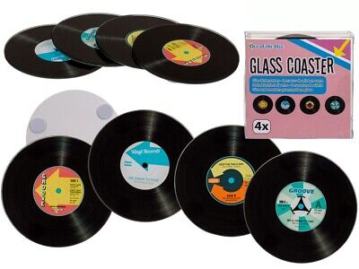 Retro Glass Vinyl Records Coasters Music Fans Set Of 4 Stocking Filler Gift • 5.99£