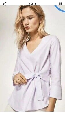 AU45 • Buy MASSIMO DUTTI Lavender Tie Front Blouse, Size 40/10 BNWT RRP £45 3/4 Sleeve
