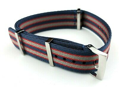 20mm BLUE&RED 007 James Bond NATO STRAP & CLASP Fit OMEGA Watches + Pind/Tool • 24.90£