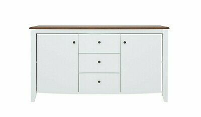 Classic White Gloss & Wood Sideboard Cabinet Drawers Unit Soft Close Kalio • 375£