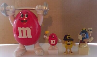 Vintage M&Ms Chocolate Weightlifter Dispenser & 3 X Toppers Olympic Torch ++ • 4.99£