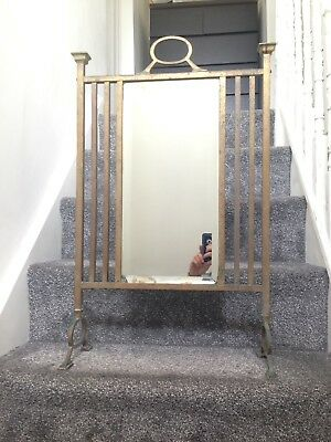 £175 • Buy Large Antique Heavy Brass Mirrored Fire Screen Art Nouveau Deco Victorian Crafts