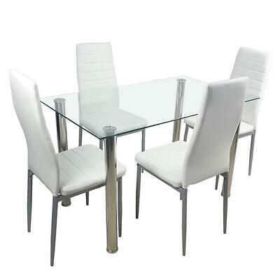 5 Piece Dining Table Set White Glass And 4 Chairs Faux Leather Kitchen Furniture • 139.99$