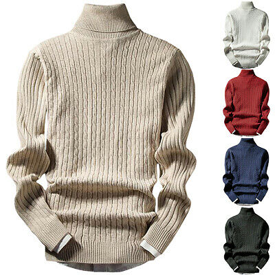 Men High Roll Turtle Neck Chunky Cable Knit Long Sleeve Jumper Sweater Top Comfy • 13.49£