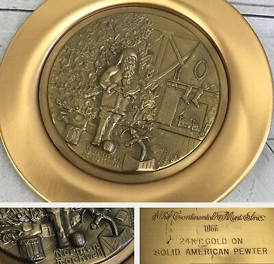 $ CDN50.34 • Buy NORMAN ROCKWELL The Continental Mint Inc 24k GOLD CHRISTMAS 1976 PLATE