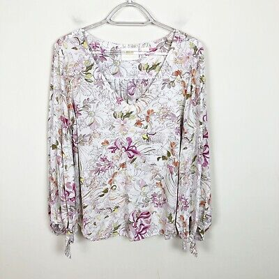 $ CDN53.59 • Buy Anthropologie Maeve Pernille Floral Tie Sleeve Blouse Size Small