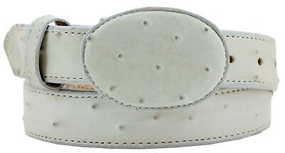 $19.99 • Buy Kids Unisex Off White Western Cowboy Belt Ostrich Quill  Print Leather Rounded