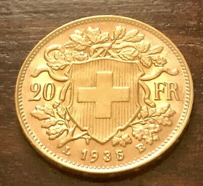 $381.91 • Buy SWISS Gold Coin 20 Francs Switzerland Goldvreneli Vreneli UNC 1935 LB Suisse