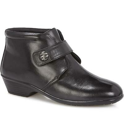 Pavers Womens Leather Ankle Boots Touch-Fasten Strap Small Heel Casual Shoes • 66.99£