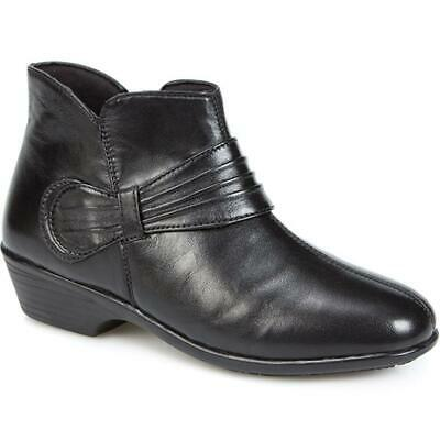Pavers Womens Leather Ankle Boots With Gathered Strap Sculpted Collar Shoes • 69.99£