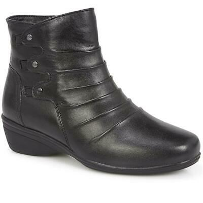 Pavers Womens Leather Ankle Boots Cushioned Footbed Side Zip Casual Shoes • 69.99£