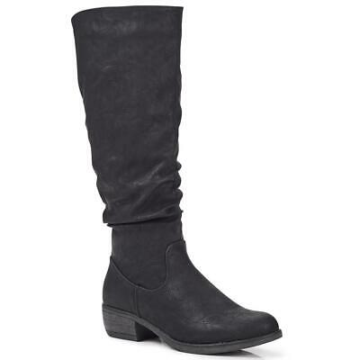 Pavers Womens Casual Knee High Boots Short Block Heel Faux Fur Lining Shoes • 69.99£