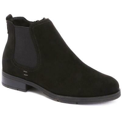 Pavers Womens Chelsea Ankle Boots Elastic Panel Side Zip Suedette Casual Shoes • 66.99£