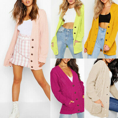 Womens Ladies Chunky Cable Knit Cardigan Button Long Sleeves Grandad  Plus Sizes • 14.99£