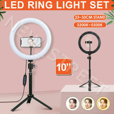 AU29.97 • Buy 10  Dimmable LED Ring Light With Tripod Stand Selfie Make Up Lamp 360° Rotation