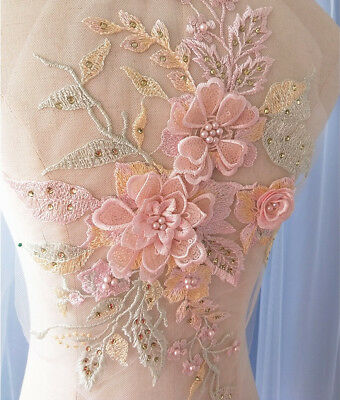 3D Embroidery Lace Flower Bridal Applique Beaded Pearl Tulle DIY Wedding Dress • 7.11£
