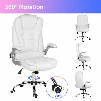 £139.99 • Buy White Office Computer Chair Executive PU Leather Swivel High Back Recliner Seat