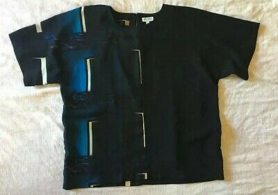 AU110 • Buy KENZO PARIS Printed Silk Shirt, Fr 38 (10) Black & Blues
